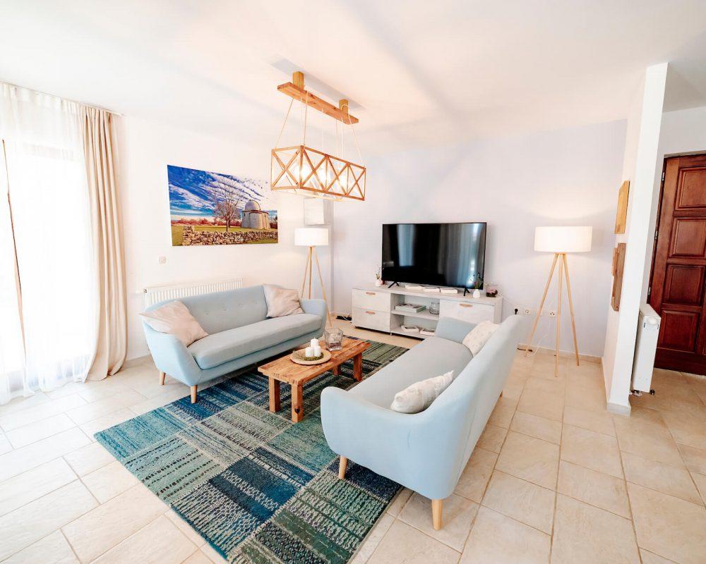 Das Wohnzimmer wird von vier hellen Lampen beleuchtet. Ein gemusterter Teppich und Kissen auf den Couchs machen das Wohnzimmer noch komfortabler.