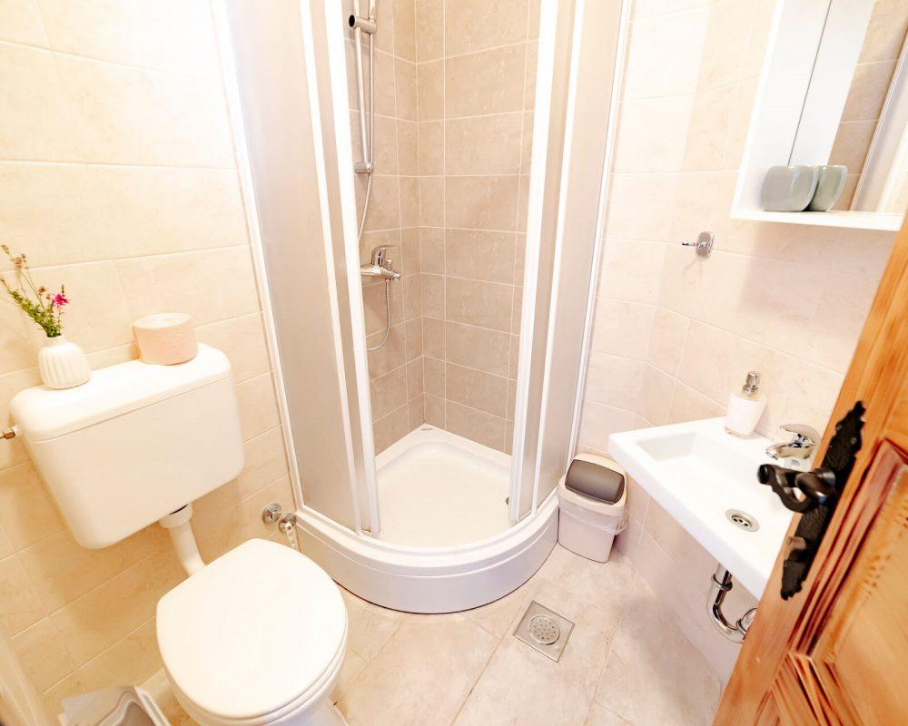 Das kleine Badezimmer der Villa Alma verfügt über eine kleine Dusche, ein Waschbecken und eine Toilette.
