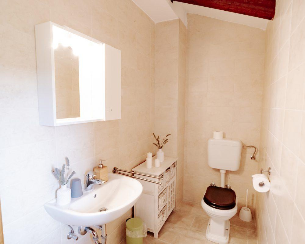 Das kleine Badezimmer besteht aus einer Toilette und einer Dusche.