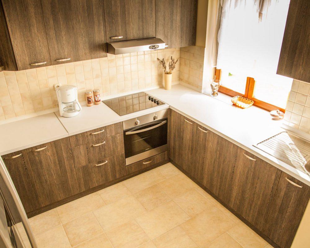 Die schicke Küche ist mit einem Ofen, einem Herd mit Abzug, einer Mikrowelle und einem großen Kühlschrank ausgestattet.