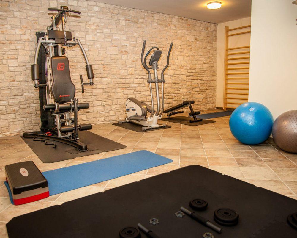 Der Fitnessraum der Villa Alma hat verschiedene Fitnessgeräte wie zum Beispiel Hanteln, eine Trainingsbank, Gymnastikbälle oder auch eine Sprossenwand.