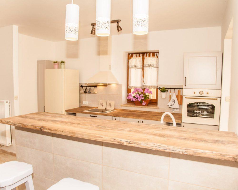 Die Küche der Villa Begonia ist unter anderem mit einem Ofen, einem Kühlschrank, einem Herd mit Abzug und vielen Regalen ausgestattet.